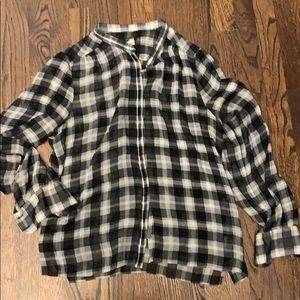 J. Crew silk plaid blouse. Black and white L